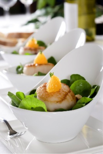Recipe for Seared Scallops with Wilted Watercres and Bacon