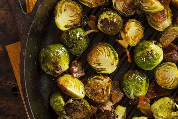 Roasted Brussel Sprouts with Bacon and Tabasco Glaze