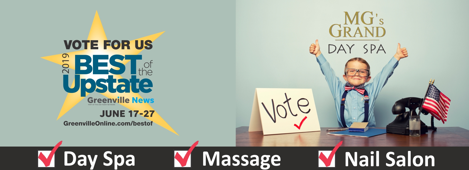 Vote MG's GRAND Day Spa Best of the Upstate