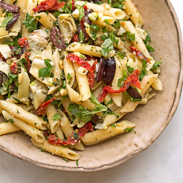 Recipe:  Penne with Artichokes, Olives and Basil